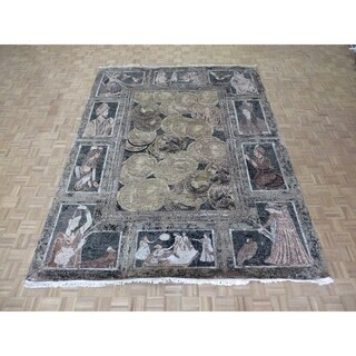 """Hand Knotted Multi Colored Tabriz with Wool & Silk Oriental Rug (9'2"""" x 12'1"""") - 9'2"""" x 12'1"""""""