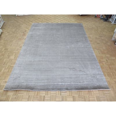 """Hand Knotted Gray Tibetan with Bamboo Silk Oriental Rug (10'2"""" x 14') - 10'2"""" x 14'"""