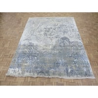 "Hand Knotted Gray Modern with Wool & Silk Oriental Rug (8'1"" x 10'3"") - 8'1"" x 10'3"""