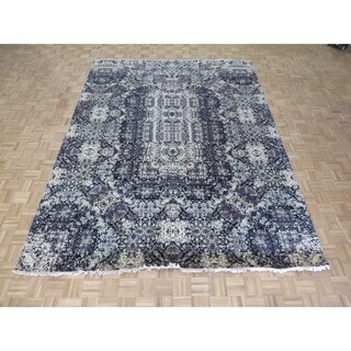 """Hand Knotted Black Modern with Wool & Silk Oriental Rug (9'2"""" x 12') - 9'2"""" x 12'"""
