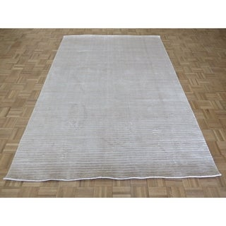 """Hand Knotted ivory Tibetan with Bamboo Silk Oriental Rug (6'3"""" x 9'2"""") - 6'3"""" x 9'2"""""""