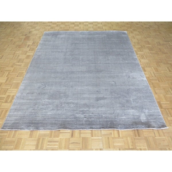 """Hand Knotted Gray Tibetan with Bamboo Silk Oriental Rug (8'2"""" x 10') - 8'2"""" x 10'"""
