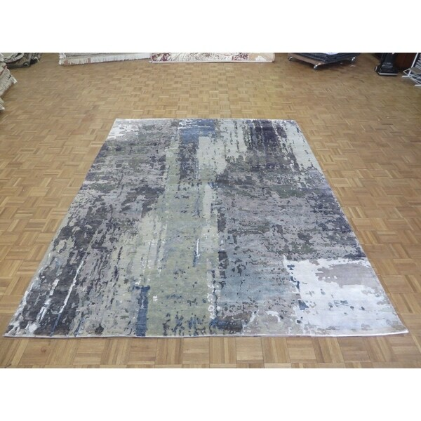 Hand Knotted Multi Colored Modern with Wool & Silk Oriental Rug (9' x 12') - 9' x 12'