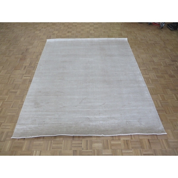 """Hand Knotted Ivory Tibetan with Bamboo Silk Oriental Rug (8'3"""" x 10') - 8'3"""" x 10'"""