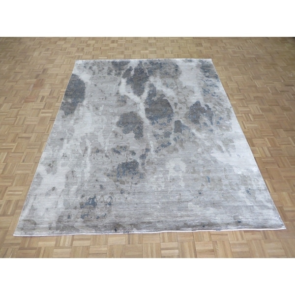 """Hand Knotted Gray Modern with Wool & Silk Oriental Rug (8' x 10'3"""") - 8' x 10'3"""""""