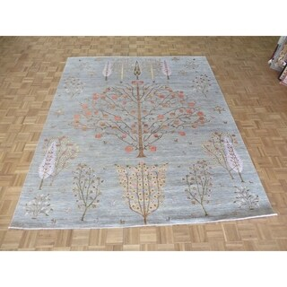 """Hand Knotted Gray Gabbeh with Silk Blend Oriental Rug (8'3"""" x 10') - 8'3"""" x 10'"""