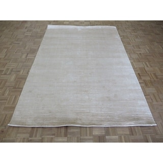 """Hand Knotted ivory Tibetan with Bamboo Silk Oriental Rug (6'2"""" x 9'1"""") - 6'2"""" x 9'1"""""""