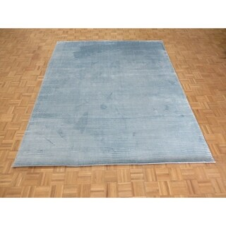 """Hand Knotted Blue Tibetan with Bamboo Silk Oriental Rug (8'2"""" x 10') - 8'2"""" x 10'"""