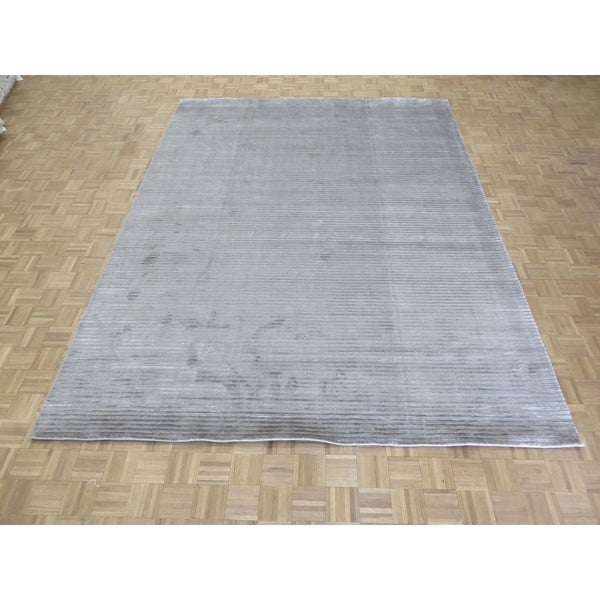 """Hand Knotted Gray Tibetan with Bamboo Silk Oriental Rug (9'2"""" x 12'1"""") - 9'2"""" x 12'1"""""""