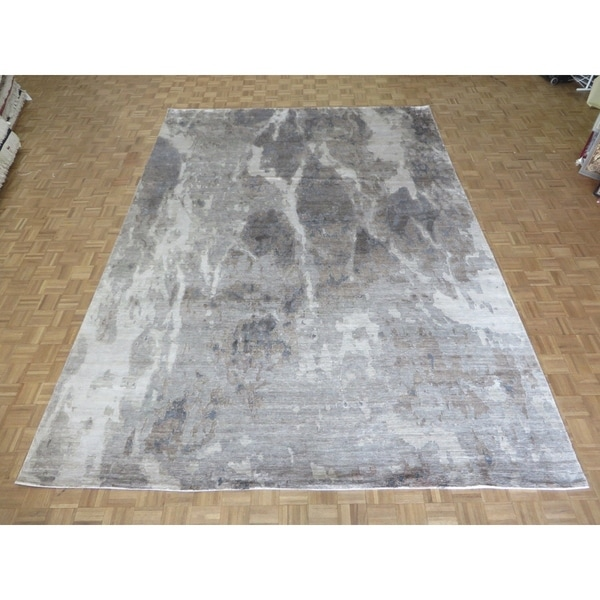 """Hand Knotted Gray Modern with Wool & Silk Oriental Rug (10'1"""" x 14'2"""") - 10'1"""" x 14'2"""""""