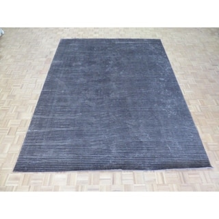 """Hand Knotted Brown Tibetan with Bamboo Silk Oriental Rug (9'3"""" x 12') - 9'3"""" x 12'"""