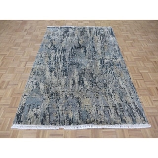 """Hand Knotted Multi Colored Modern with Wool & Silk Oriental Rug (5'5"""" x 8'1"""") - 5'5"""" x 8'1"""""""