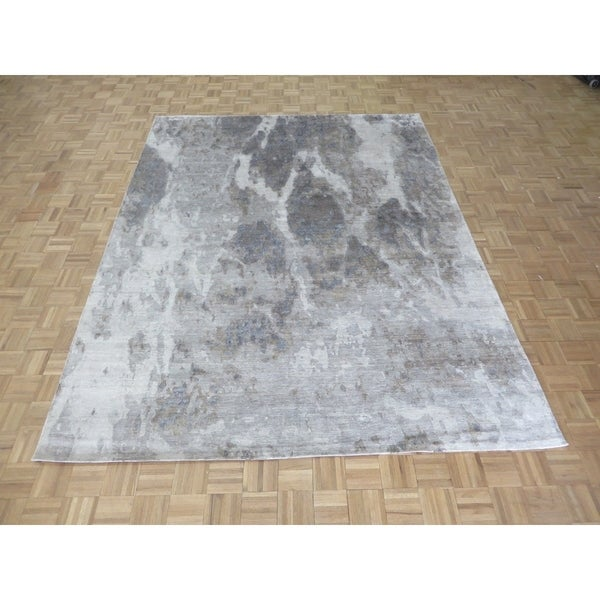 "Hand Knotted Gray Modern with Wool & Silk Oriental Rug (8' x 10'1"") - 8' x 10'1"""