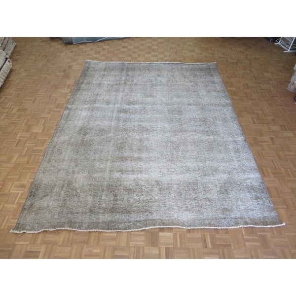 """Hand Knotted Gray Tabriz with Wool Oriental Rug (9'8"""" x 12'7"""") - 9'8"""" x 12'7"""""""