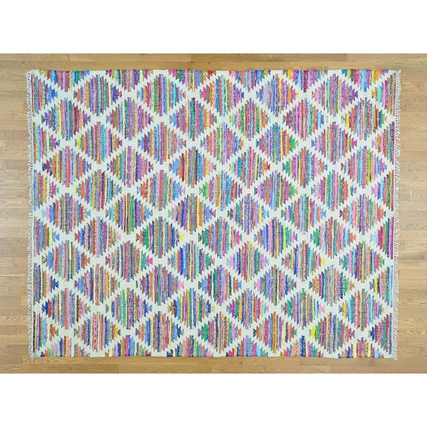Hand Knotted Multicolored Flat Weave with Wool Oriental Rug (8' x 10') - 8' x 10'
