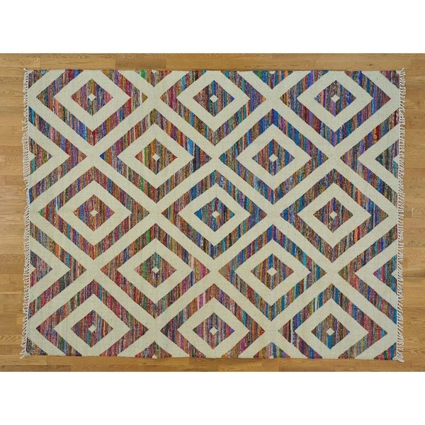 """Hand Knotted Multicolored Flat Weave with Wool Oriental Rug (8' x 10'3"""") - 8' x 10'3"""""""