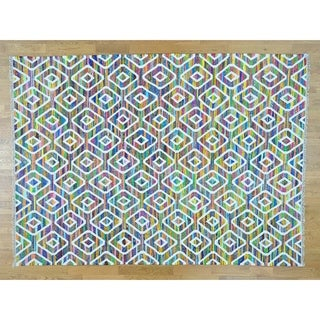 Hand Knotted Multicolored Flat Weave with Wool Oriental Rug (9' x 12') - 9' x 12'