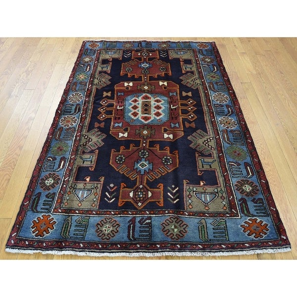 "Hand Knotted Blue Persian with Wool Oriental Rug (4'4"" x 6'1"") - 4'4"" x 6'1"""