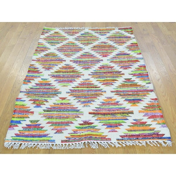"Hand Knotted Multicolored Flat Weave with Wool Oriental Rug (3'6"" x 5'5"") - 3'6"" x 5'5"""