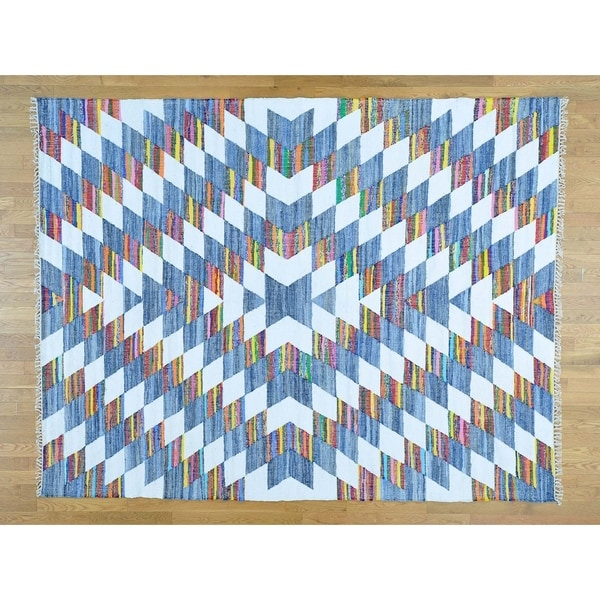 """Hand Knotted Multicolored Flat Weave with Wool Oriental Rug (8' x 10'2"""") - 8' x 10'2"""""""