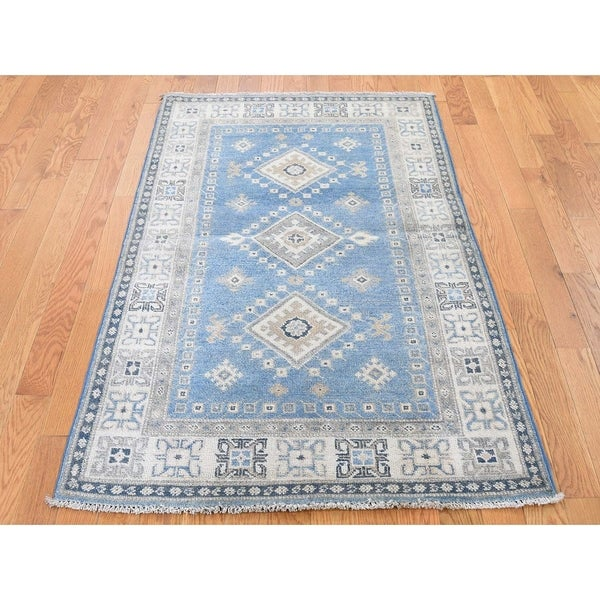 """Hand Knotted Blue Kazak with Wool Oriental Rug (3'3"""" x 5') - 3'3"""" x 5'"""