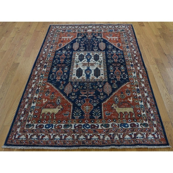 "Hand Knotted Red Oushak And Peshawar with Wool Oriental Rug (4'2"" x 6'1"") - 4'2"" x 6'1"""