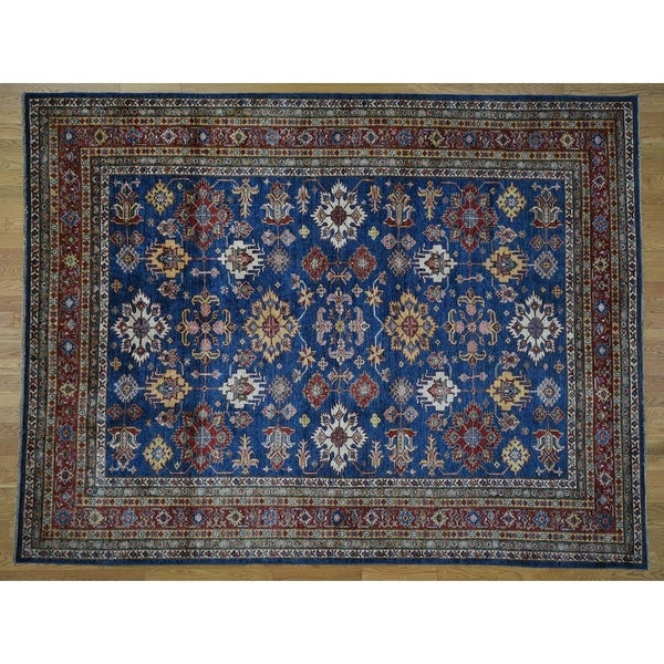 """Hand Knotted Blue Kazak with Wool Oriental Rug (8'3"""" x 10'9"""") - 8'3"""" x 10'9"""""""