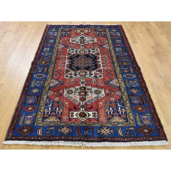 """Hand Knotted Red Persian with Wool Oriental Rug (4'3"""" x 6'9"""") - 4'3"""" x 6'9"""""""