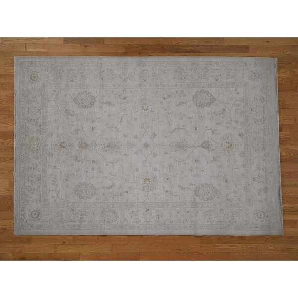 "Hand Knotted Ivory Oushak And Peshawar with Wool Oriental Rug (6'1"" x 9') - 6'1"" x 9'"