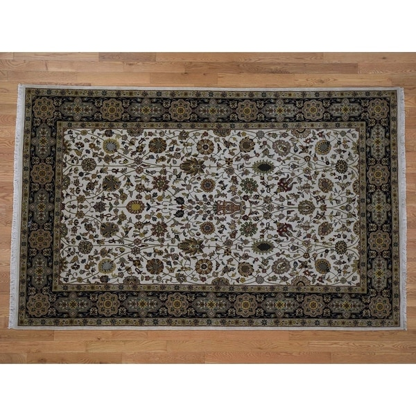 """Hand Knotted Ivory Fine Oriental with New Zealand Wool Oriental Rug (6' x 9'4"""") - 6' x 9'4"""""""