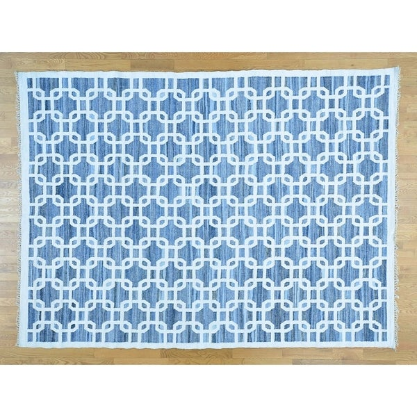 Hand Knotted Blue Flat Weave with Wool Oriental Rug (9' x 12') - 9' x 12'