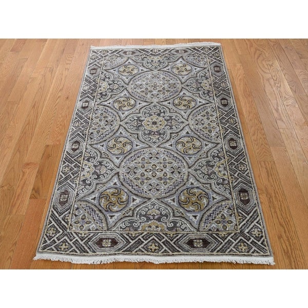 """Hand Knotted Ivory Modern & Contemporary with Wool & Silk Oriental Rug (3'1"""" x 5'1"""") - 3'1"""" x 5'1"""""""