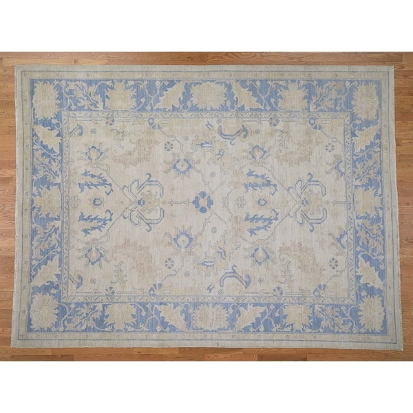 Hand Knotted Ivory Oushak And Peshawar with Wool Oriental Rug (9' x 12') - 9' x 12'
