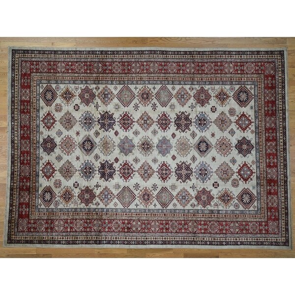 Shop Hand Knotted Ivory Kazak With Wool Oriental Rug 9 X 12 4