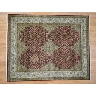 Hand Knotted Red Fine Oriental with Wool Oriental Rug (8' x 10') - 8' x 10'