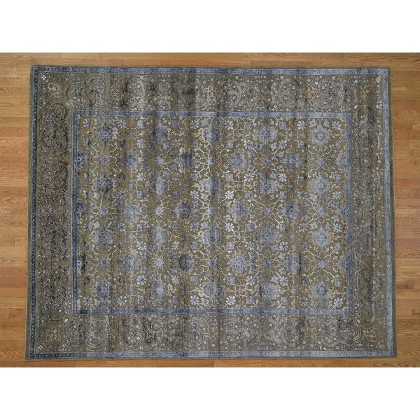 "Hand Knotted Green Wool and Silk with Wool & Silk Oriental Rug (8' x 10'1"") - 8' x 10'1"""