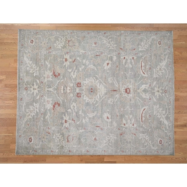 Hand Knotted Grey Oushak And Peshawar with Wool Oriental Rug (8' x 10') - 8' x 10'