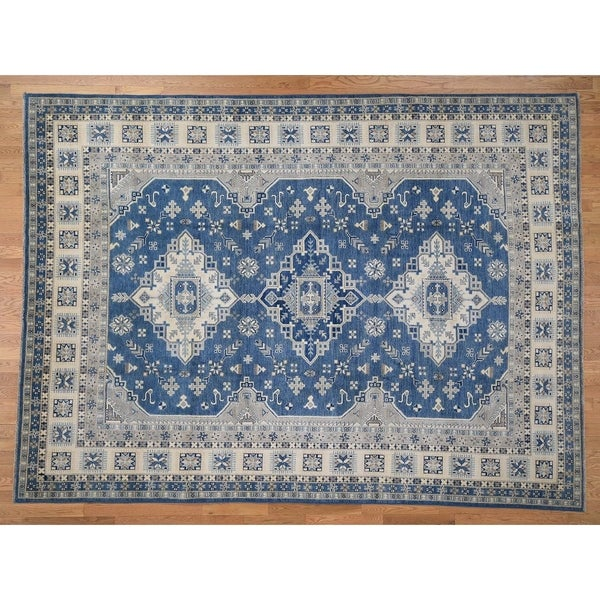 """Hand Knotted Blue Kazak with Wool Oriental Rug (9'1"""" x 12'2"""") - 9'1"""" x 12'2"""""""
