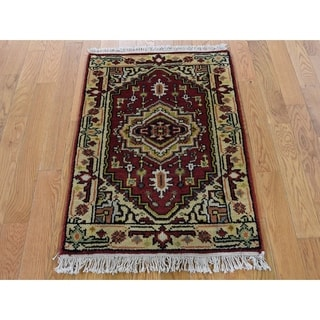 Hand Knotted Red Heriz with Wool Oriental Rug (2' x 3') - 2' x 3'