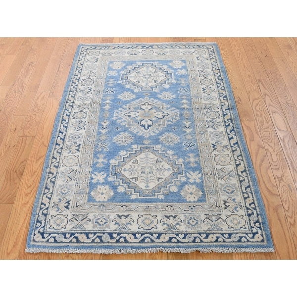 """Hand Knotted Blue Kazak with Wool Oriental Rug (3'3"""" x 5'5"""") - 3'3"""" x 5'5"""""""