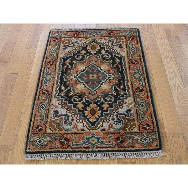 """Hand Knotted Black Heriz with Wool Oriental Rug (2'2"""" x 3') - 2'2"""" x 3'"""