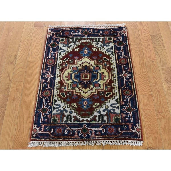 """Hand Knotted Red Heriz with Wool Oriental Rug (2'1"""" x 3') - 2'1"""" x 3'"""