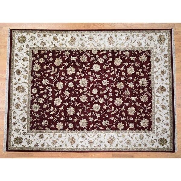 Hand Knotted Red Rajasthan with Wool & Silk Oriental Rug (9' x 12') - 9' x 12'