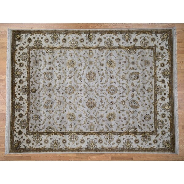 Hand Knotted Grey Rajasthan with Wool & Silk Oriental Rug (9' x 12') - 9' x 12'