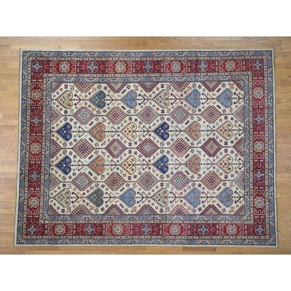 """Hand Knotted Ivory Kazak with Wool Oriental Rug (9'3"""" x 12') - 9'3"""" x 12'"""