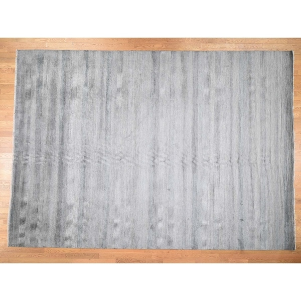 """Hand Knotted Grey Modern & Contemporary with Wool & Silk Oriental Rug (9' x 12'5"""") - 9' x 12'5"""""""
