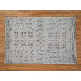 Hand Knotted Grey Oushak And Peshawar with Wool Oriental Rug (6' x 9') - 6' x 9'