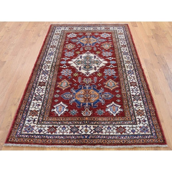"""Hand Knotted Red Kazak with Wool Oriental Rug (4' x 6'2"""") - 4' x 6'2"""""""