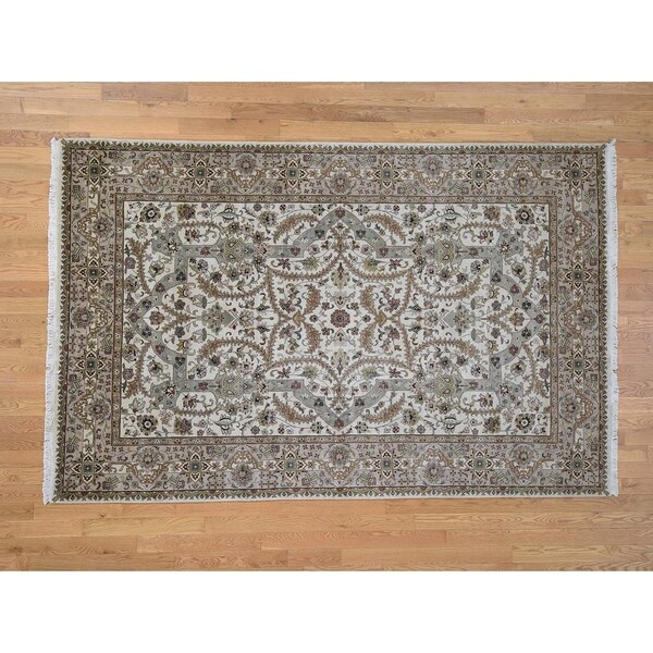 """Hand Knotted Ivory Fine Oriental with New Zealand Wool Oriental Rug (6' x 9'3"""") - 6' x 9'3"""""""