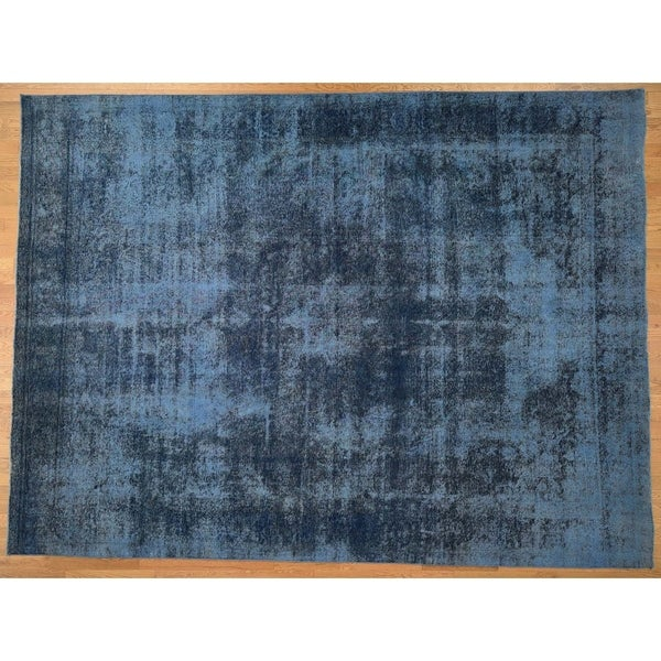 """Hand Knotted Blue Overdyed & Vintage with Wool Oriental Rug (9'9"""" x 12'10"""") - 9'9"""" x 12'10"""""""